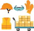 Pengemudi dilengkapi dengan peralatan keselamatan seperti helm, kaca, sarung tangan, jaket, sepatu, dan troli