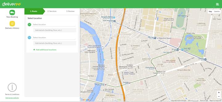 tampilan aplikasi antar jemput barang Deliveree di webapp